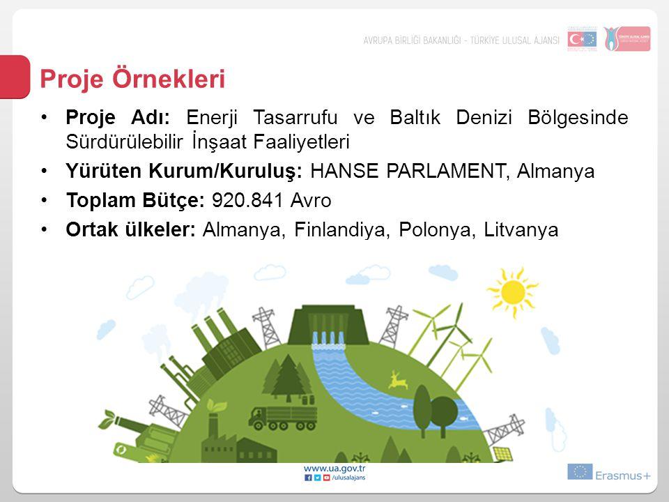 Proje Örnekleri Proje Adı: Enerji Tasarrufu ve Baltık Denizi Bölgesinde Sürdürülebilir İnşaat Faaliyetleri.