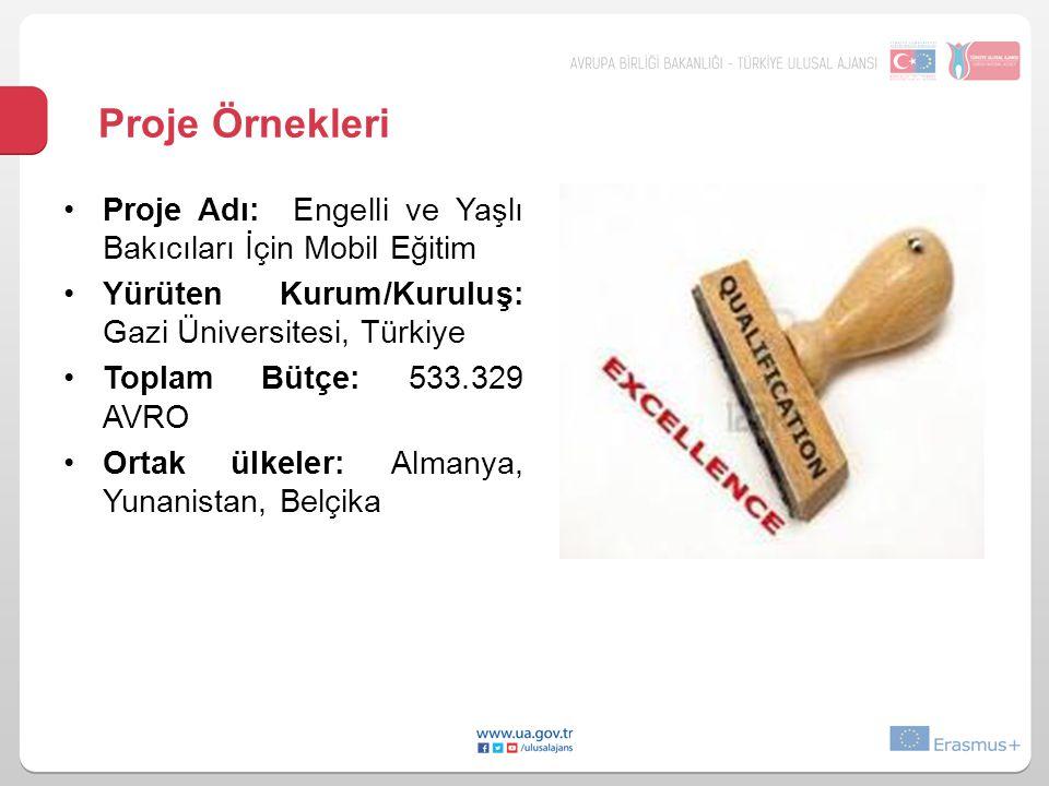 Proje Örnekleri Proje Adı: Engelli ve Yaşlı Bakıcıları İçin Mobil Eğitim. Yürüten Kurum/Kuruluş: Gazi Üniversitesi, Türkiye.