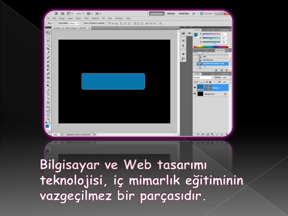 Bilgisayar ve Web tasarımı teknolojisi, iç mimarlık eğitiminin vazgeçilmez bir parçasıdır.