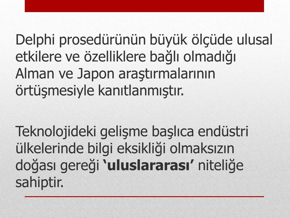 Delphi prosedürünün büyük ölçüde ulusal etkilere ve özelliklere bağlı olmadığı Alman ve Japon araştırmalarının örtüşmesiyle kanıtlanmıştır.