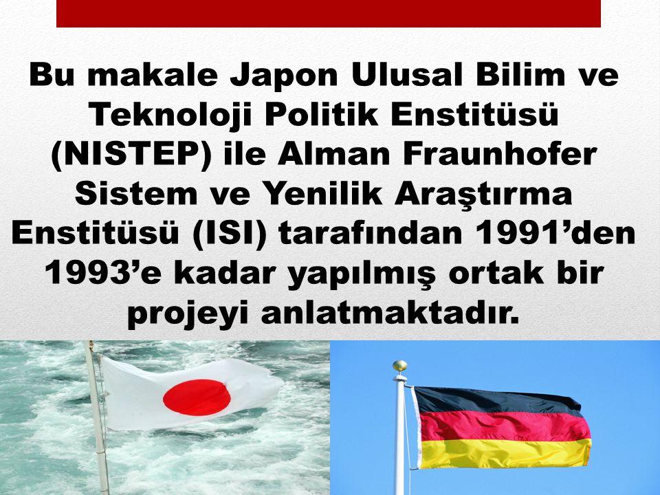 Bu makale Japon Ulusal Bilim ve Teknoloji Politik Enstitüsü (NISTEP) ile Alman Fraunhofer Sistem ve Yenilik Araştırma Enstitüsü (ISI) tarafından 1991'den 1993'e kadar yapılmış ortak bir projeyi anlatmaktadır.