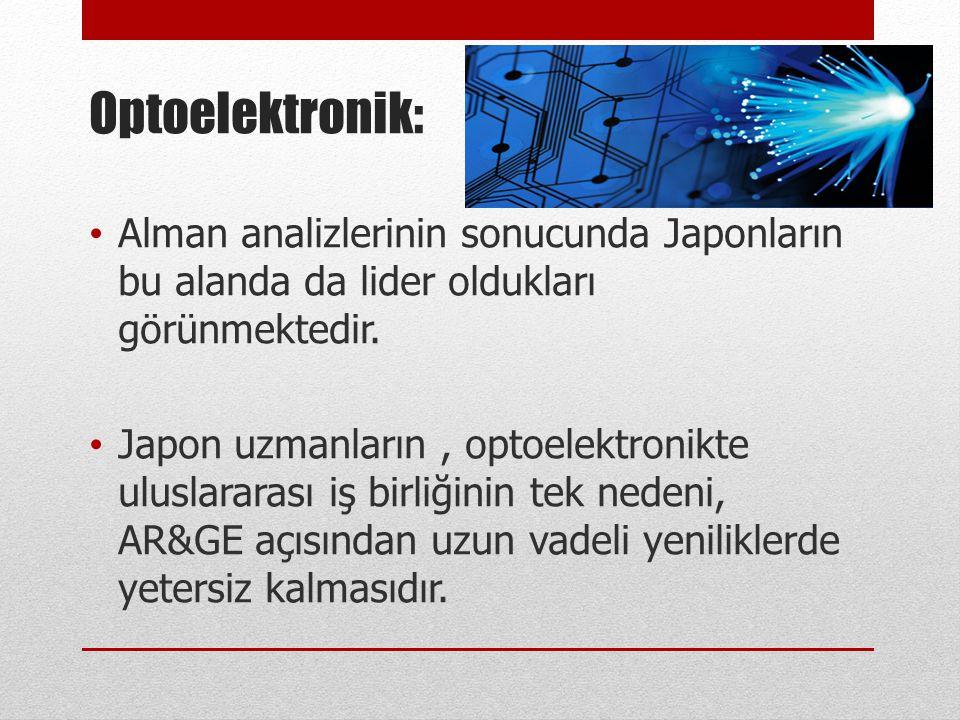 Optoelektronik: Alman analizlerinin sonucunda Japonların bu alanda da lider oldukları görünmektedir.