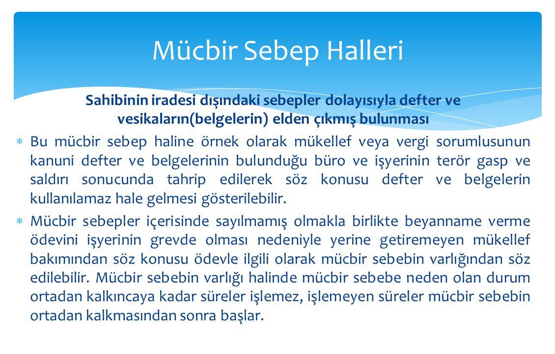 Mücbir Sebep Halleri Sahibinin iradesi dışındaki sebepler dolayısıyla defter ve vesikaların(belgelerin) elden çıkmış bulunması.