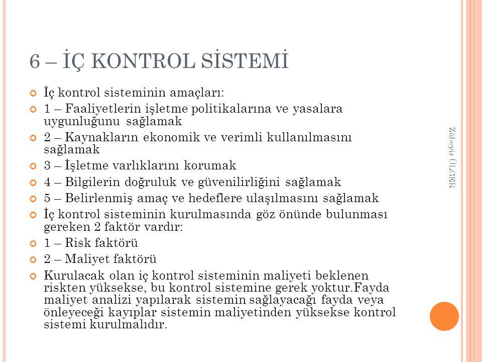 6 – İÇ KONTROL SİSTEMİ İç kontrol sisteminin amaçları: