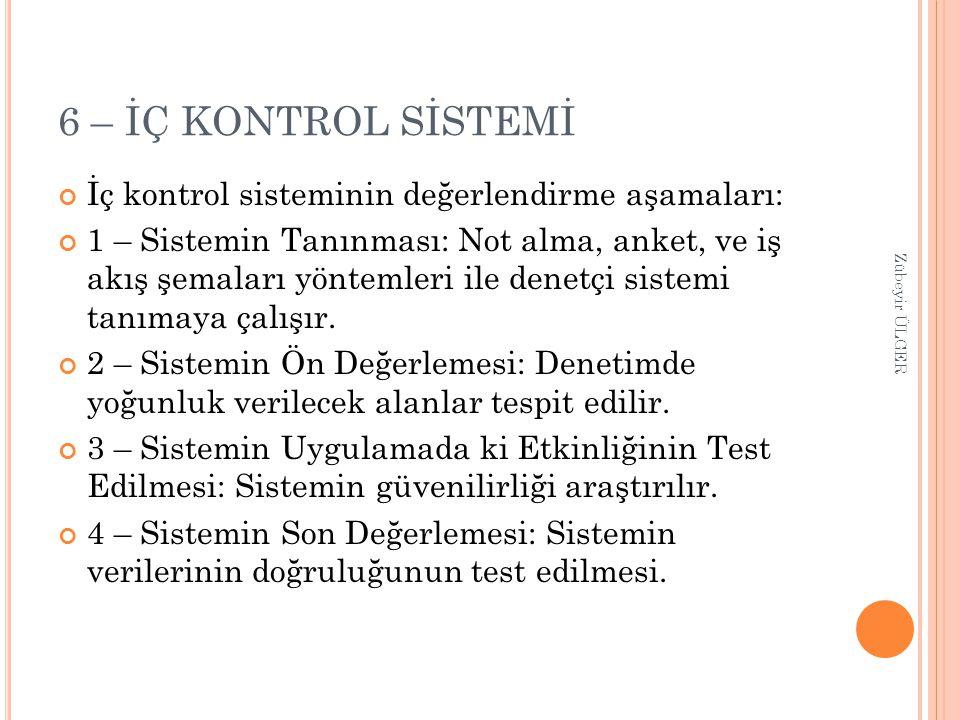 6 – İÇ KONTROL SİSTEMİ İç kontrol sisteminin değerlendirme aşamaları: