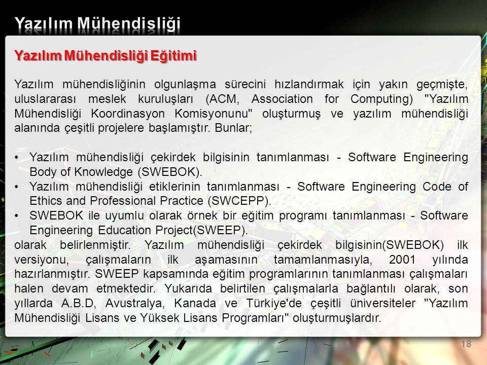 Yazılım Mühendisliği Yazılım Mühendisliği Eğitimi