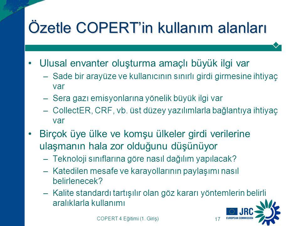 Özetle COPERT'in kullanım alanları