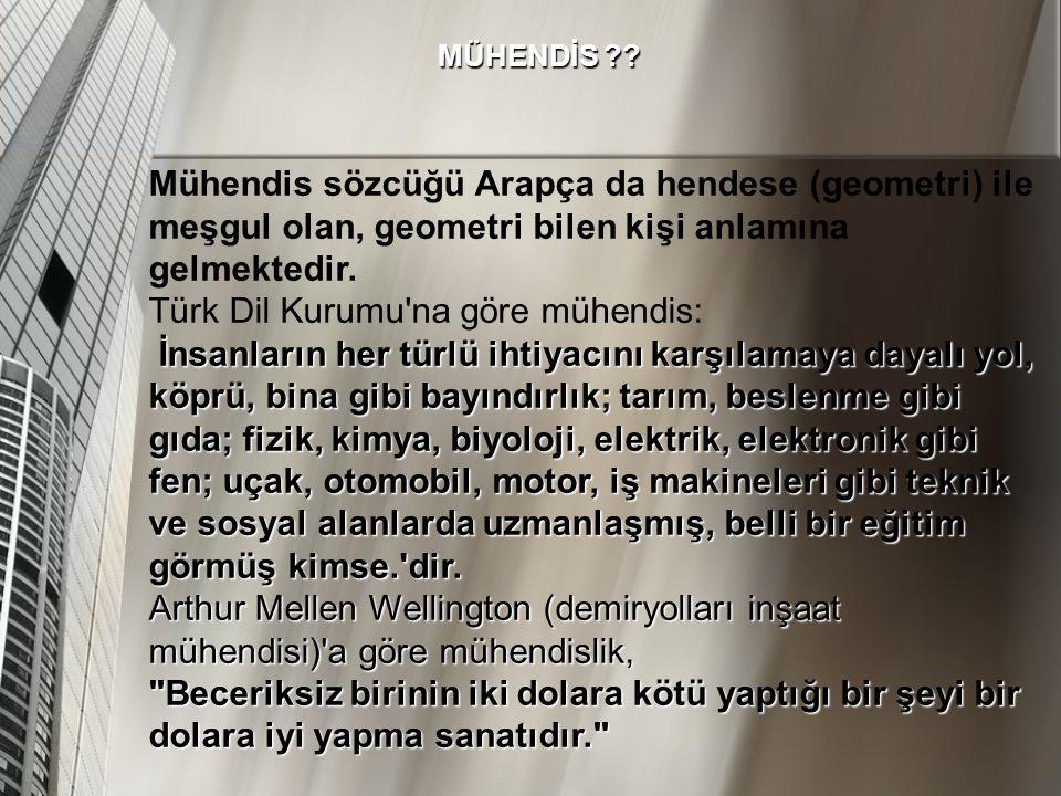 Türk Dil Kurumu na göre mühendis: