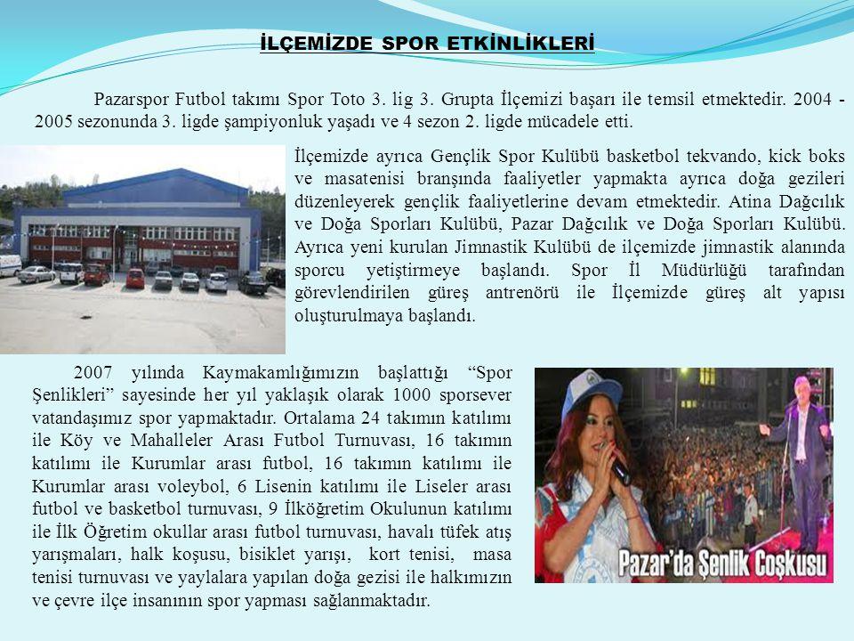 İLÇEMİZDE SPOR ETKİNLİKLERİ Pazarspor Futbol takımı Spor Toto 3. lig 3