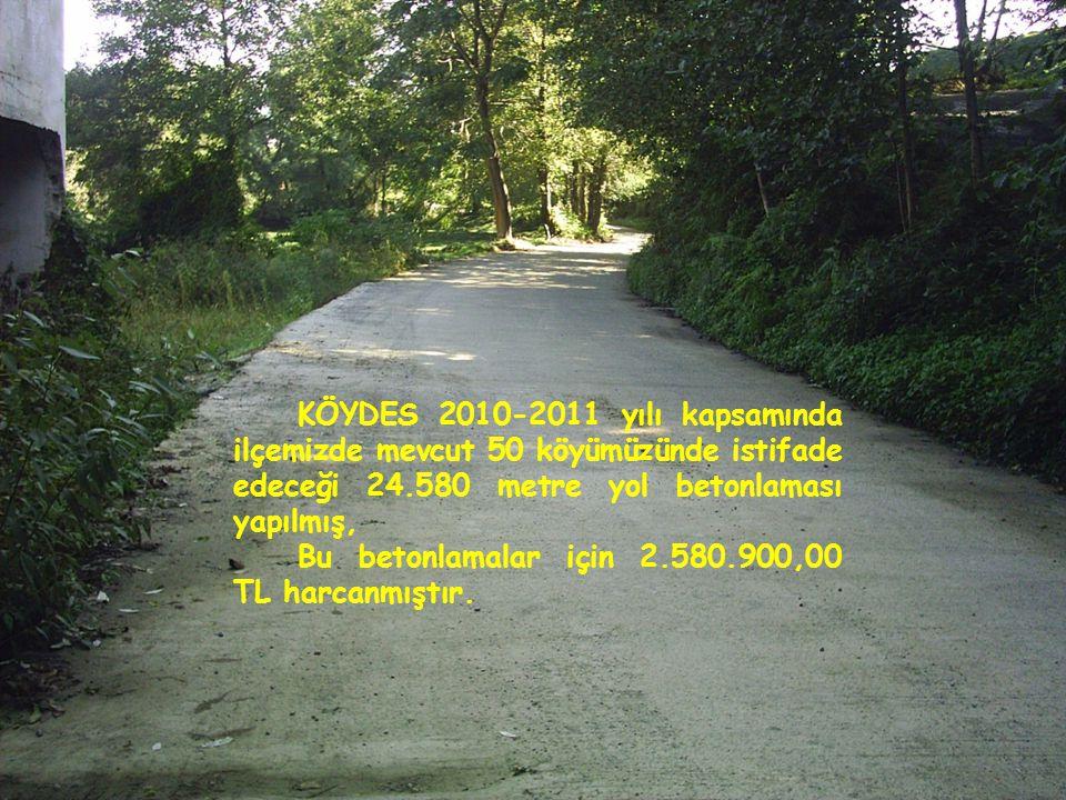 KÖYDES 2010-2011 yılı kapsamında ilçemizde mevcut 50 köyümüzünde istifade edeceği 24.580 metre yol betonlaması yapılmış,