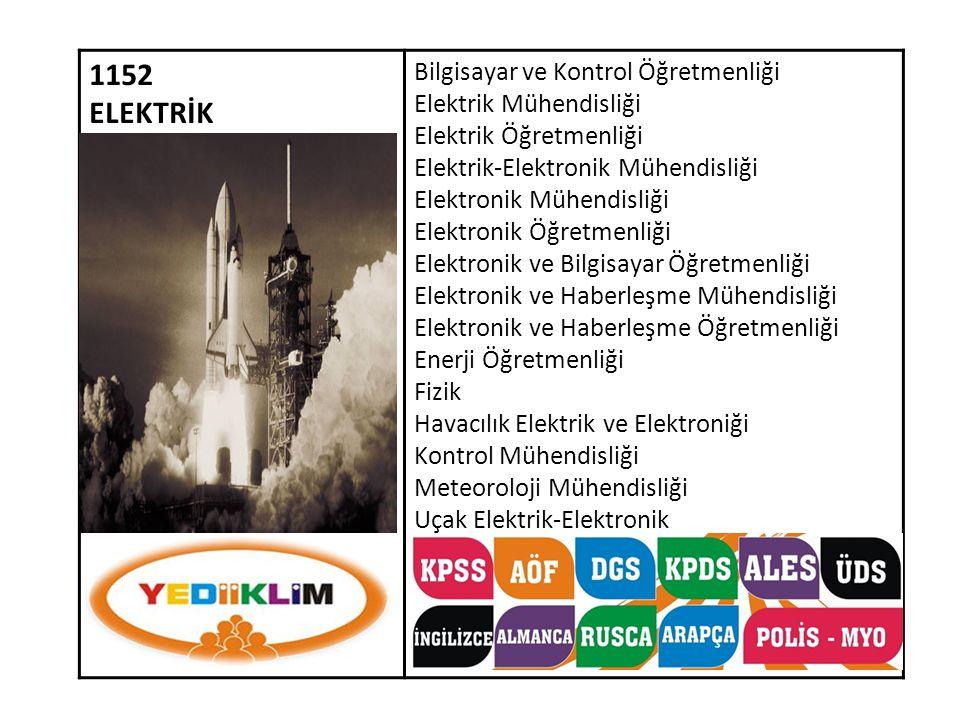 1152 ELEKTRİK Bilgisayar ve Kontrol Öğretmenliği Elektrik Mühendisliği