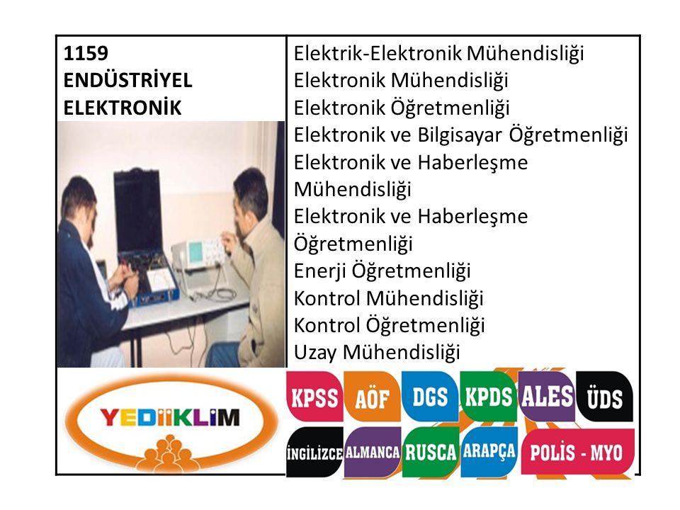 1159 ENDÜSTRİYEL ELEKTRONİK. Elektrik-Elektronik Mühendisliği. Elektronik Mühendisliği. Elektronik Öğretmenliği.