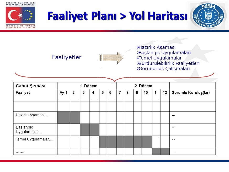 Faaliyet Planı > Yol Haritası