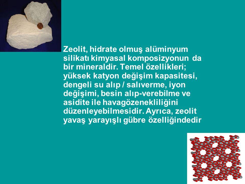 Zeolit, hidrate olmuş alüminyum silikatı kimyasal komposizyonun da bir mineraldir.