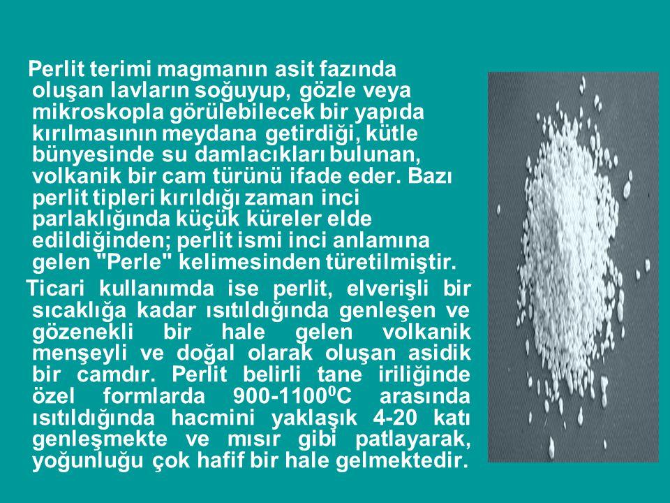 Perlit terimi magmanın asit fazında oluşan lavların soğuyup, gözle veya mikroskopla görülebilecek bir yapıda kırılmasının meydana getirdiği, kütle bünyesinde su damlacıkları bulunan, volkanik bir cam türünü ifade eder. Bazı perlit tipleri kırıldığı zaman inci parlaklığında küçük küreler elde edildiğinden; perlit ismi inci anlamına gelen Perle kelimesinden türetilmiştir.