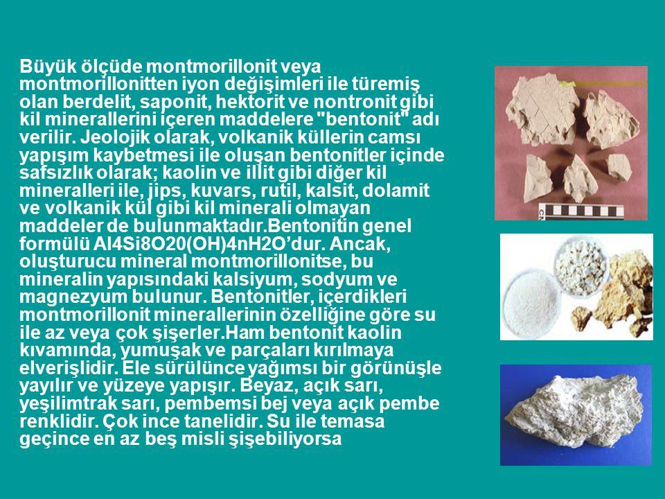 Büyük ölçüde montmorillonit veya montmorillonitten iyon değişimleri ile türemiş olan berdelit, saponit, hektorit ve nontronit gibi kil minerallerini içeren maddelere bentonit adı verilir.