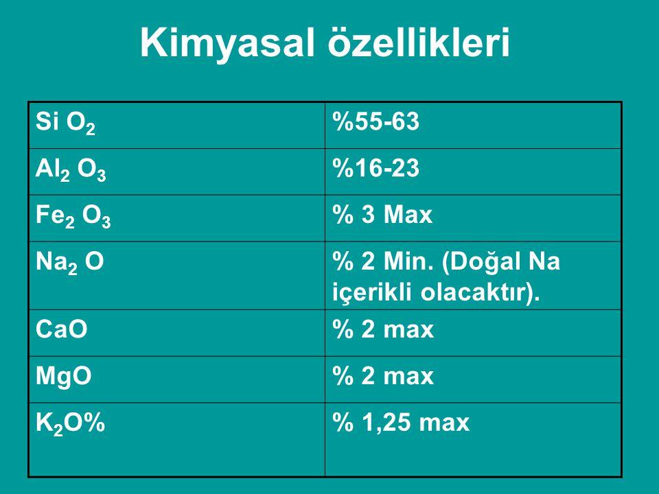 Kimyasal özellikleri Si O2 %55-63 Al2 O3 %16-23 Fe2 O3 % 3 Max Na2 O
