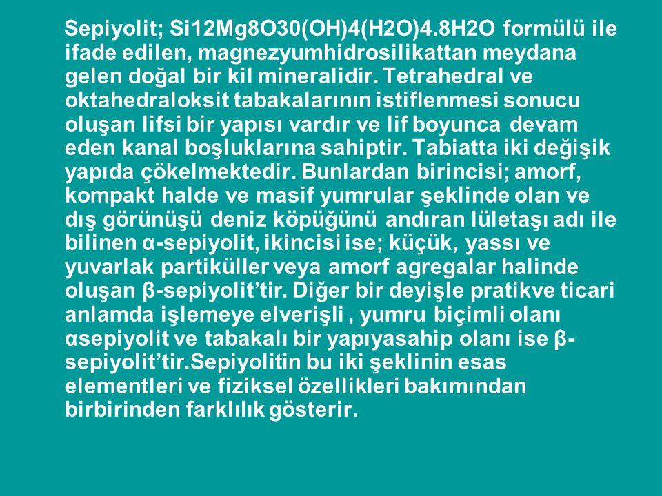 Sepiyolit; Si12Mg8O30(OH)4(H2O)4