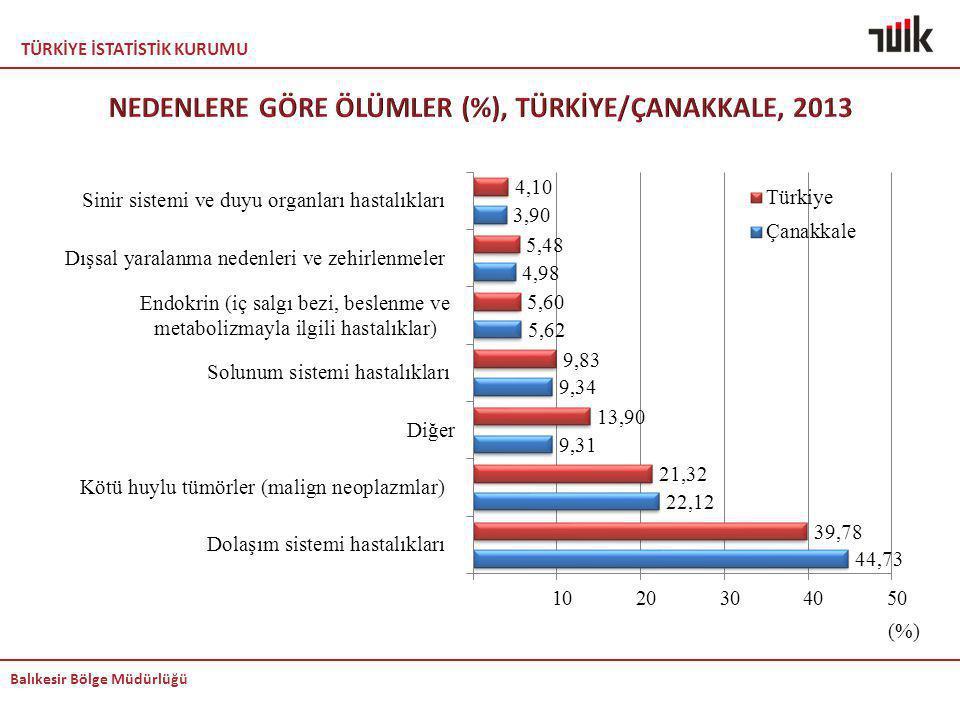 NEDENLERE GÖRE ÖLÜMLER (%), TÜRKİYE/ÇANAKKALE, 2013