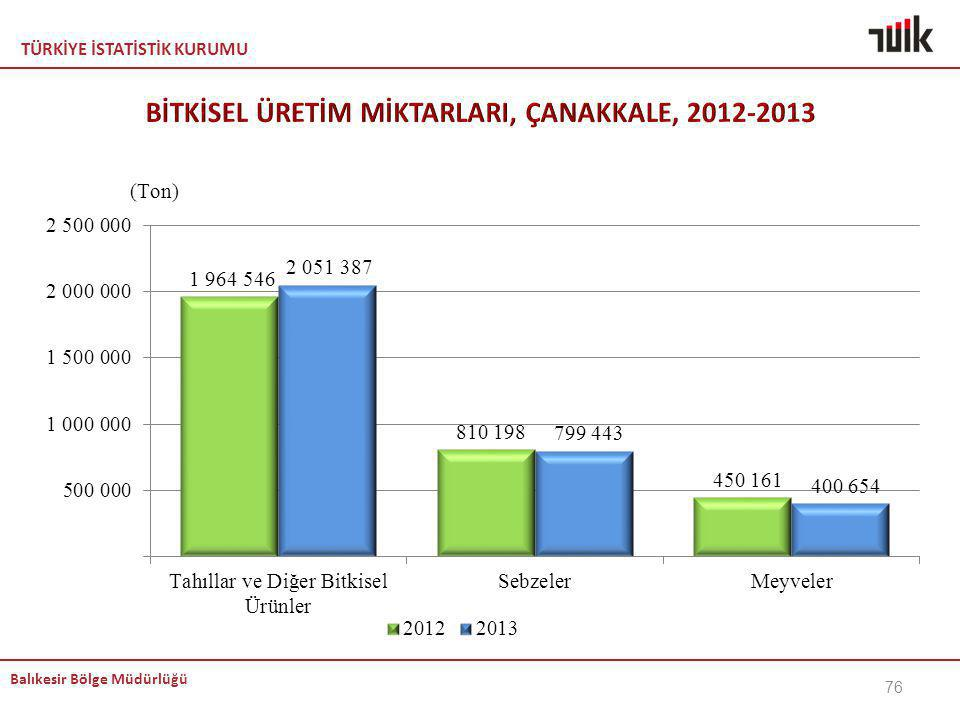 BİTKİSEL ÜRETİM MİKTARLARI, ÇANAKKALE, 2012-2013