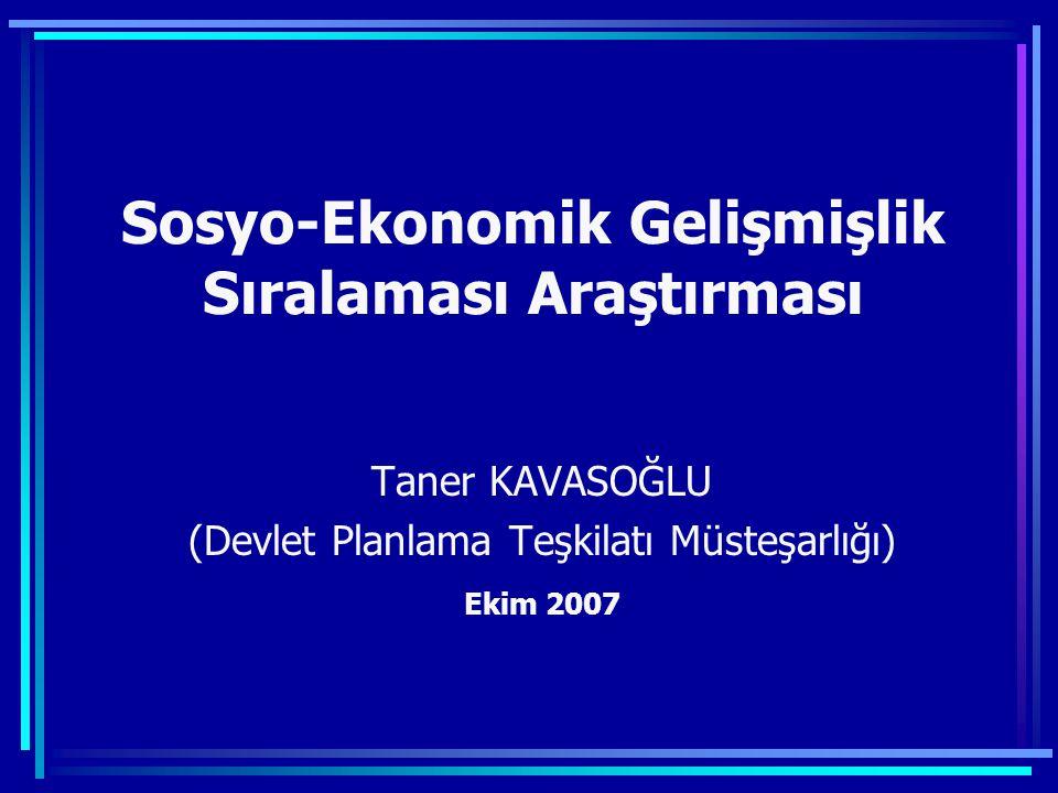 Sosyo-Ekonomik Gelişmişlik Sıralaması Araştırması