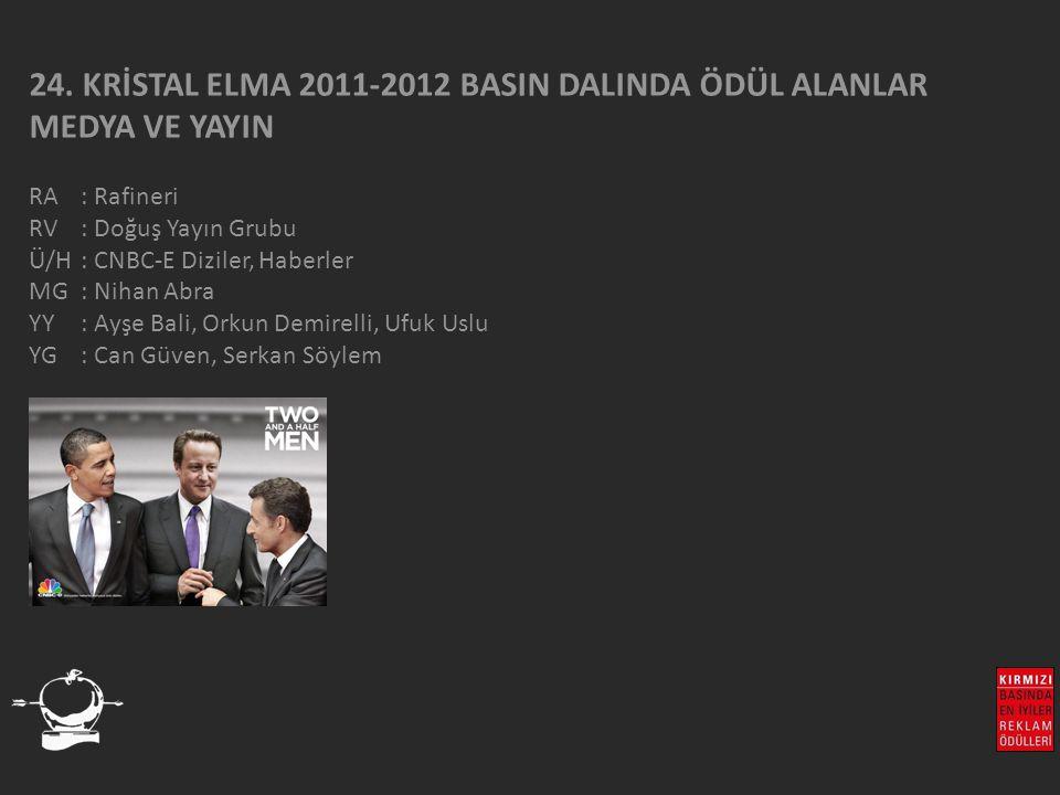 24. KRİSTAL ELMA 2011-2012 BASIN DALINDA ÖDÜL ALANLAR MEDYA VE YAYIN