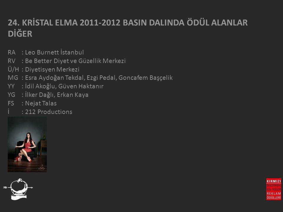 24. KRİSTAL ELMA 2011-2012 BASIN DALINDA ÖDÜL ALANLAR DİĞER