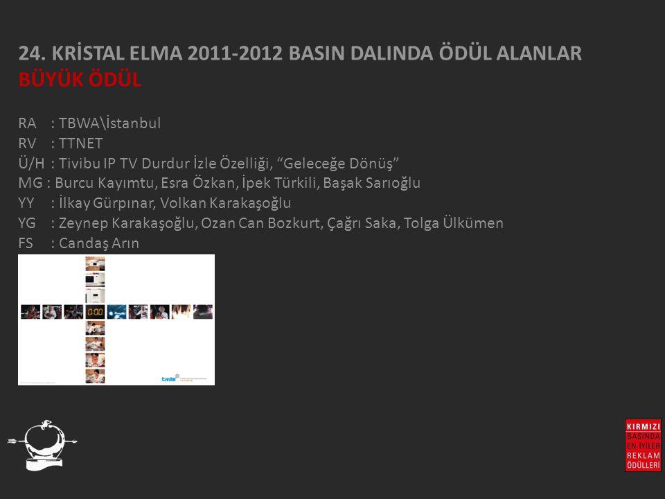 24. KRİSTAL ELMA 2011-2012 BASIN DALINDA ÖDÜL ALANLAR BÜYÜK ÖDÜL