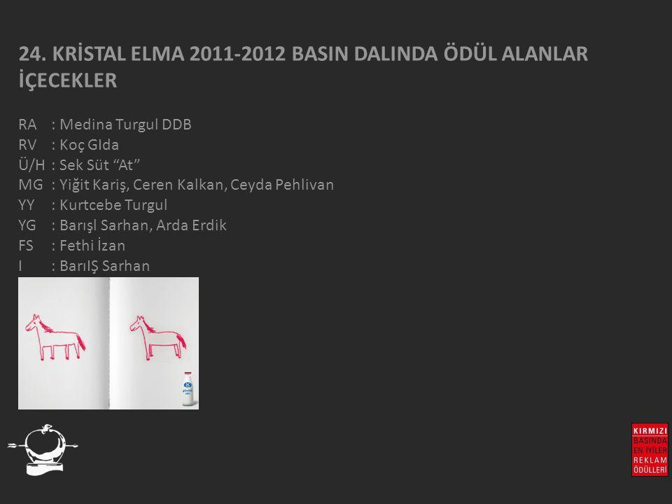 24. KRİSTAL ELMA 2011-2012 BASIN DALINDA ÖDÜL ALANLAR İÇECEKLER