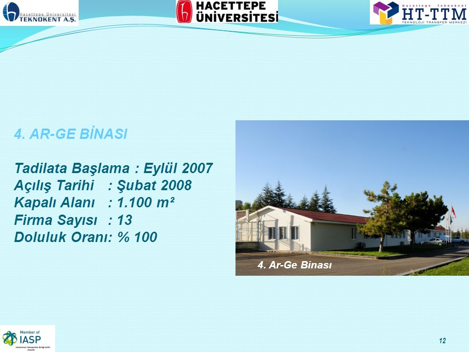 4. AR-GE BİNASI Tadilata Başlama : Eylül 2007 Açılış Tarihi