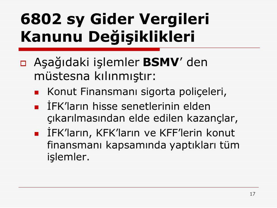 6802 sy Gider Vergileri Kanunu Değişiklikleri