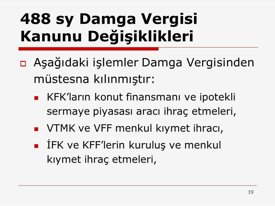488 sy Damga Vergisi Kanunu Değişiklikleri