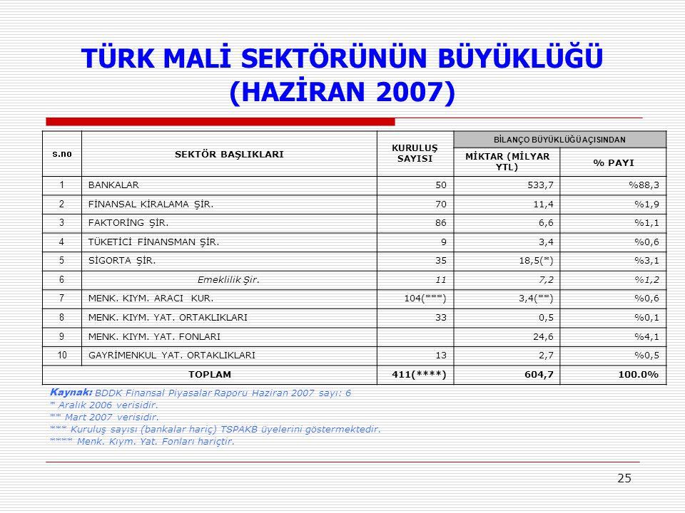 TÜRK MALİ SEKTÖRÜNÜN BÜYÜKLÜĞÜ (HAZİRAN 2007)