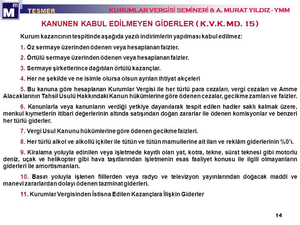 KANUNEN KABUL EDİLMEYEN GİDERLER ( K.V.K. MD. 15 )