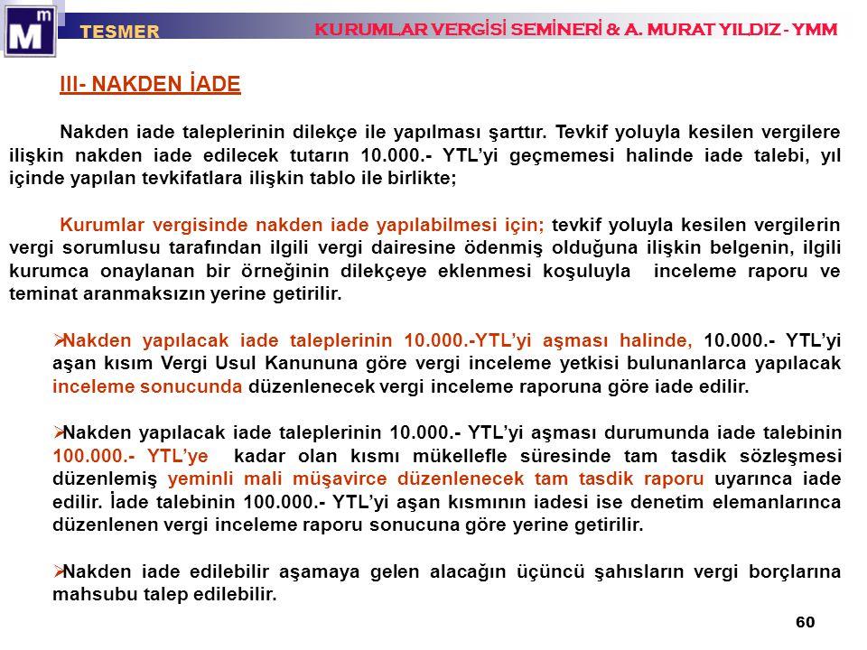 TESMER KURUMLAR VERGİSİ SEMİNERİ & A. MURAT YILDIZ - YMM. III- NAKDEN İADE.