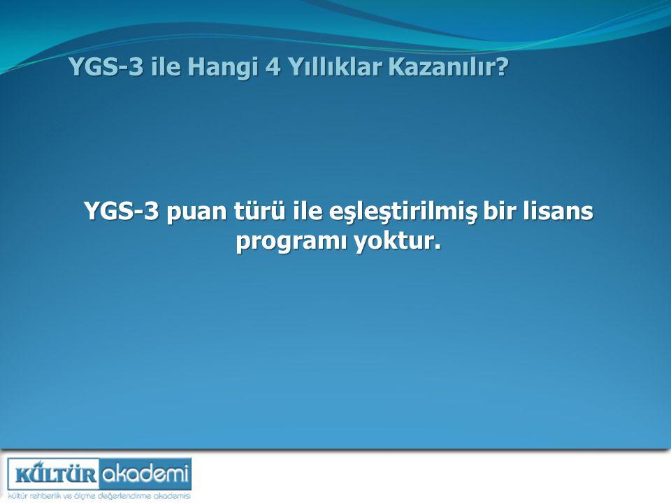 YGS-3 ile Hangi 4 Yıllıklar Kazanılır