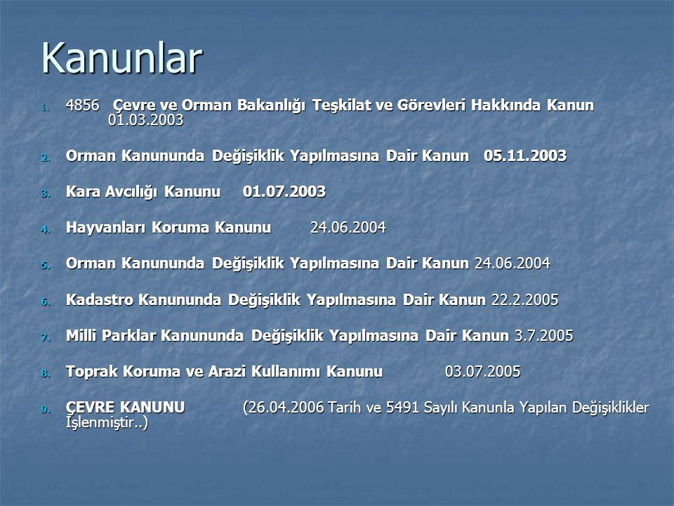 Kanunlar 4856 Çevre ve Orman Bakanlığı Teşkilat ve Görevleri Hakkında Kanun 01.03.2003.