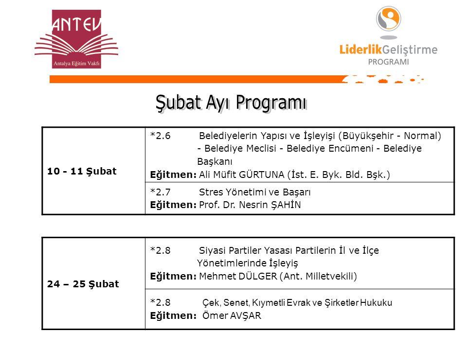 Şubat Ayı Programı 10 - 11 Şubat. *2.6 Belediyelerin Yapısı ve İşleyişi (Büyükşehir - Normal)