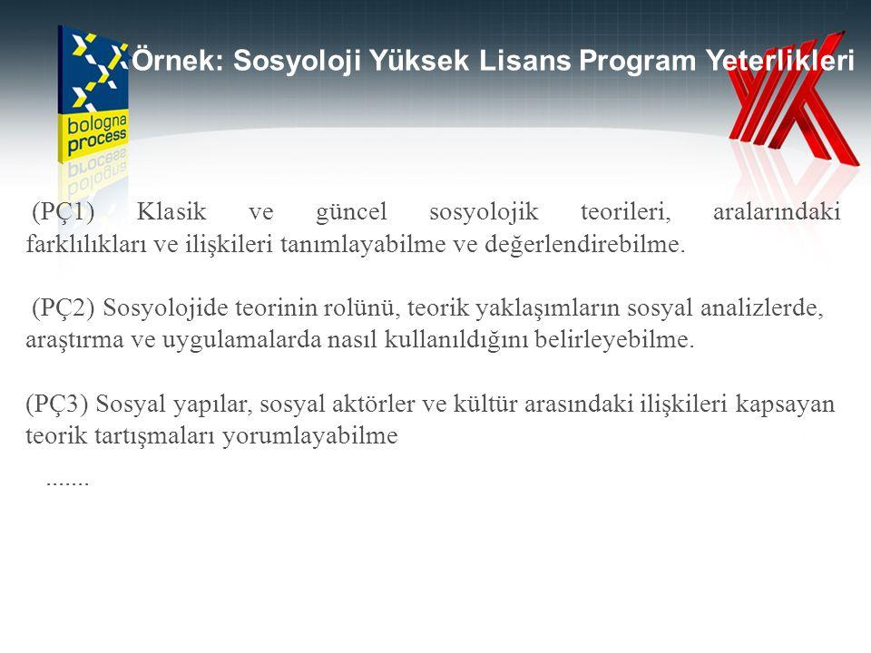 Örnek: Sosyoloji Yüksek Lisans Program Yeterlikleri