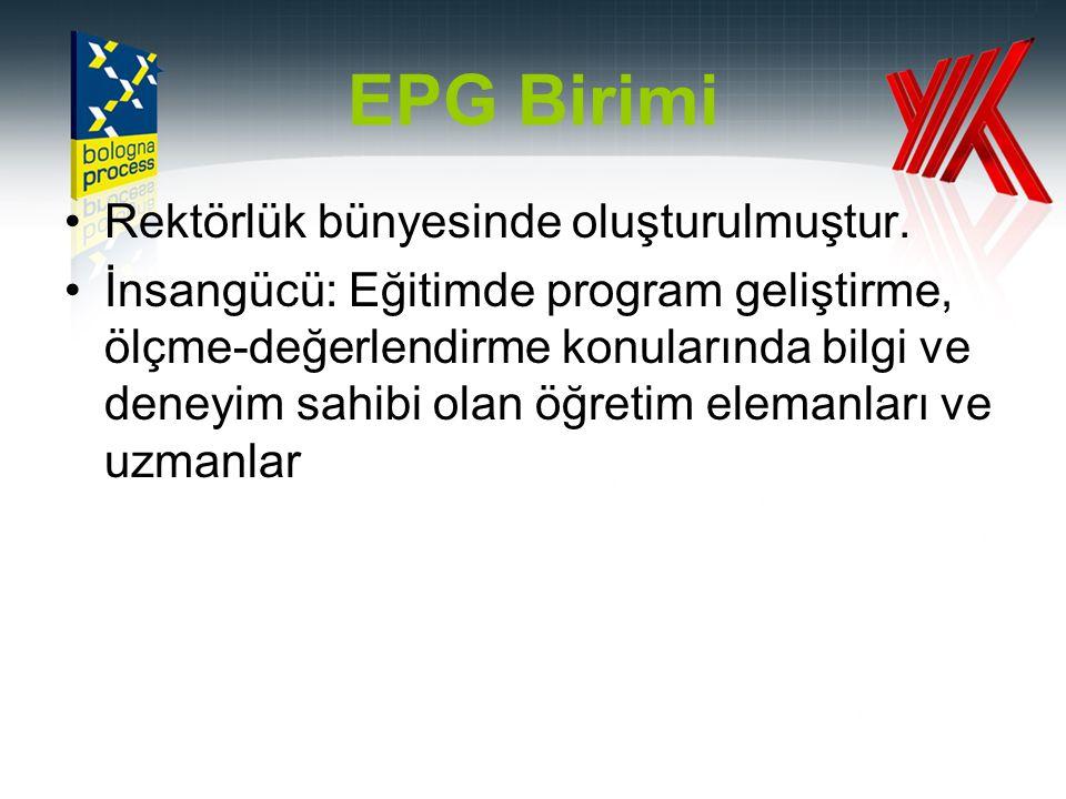 EPG Birimi Rektörlük bünyesinde oluşturulmuştur.