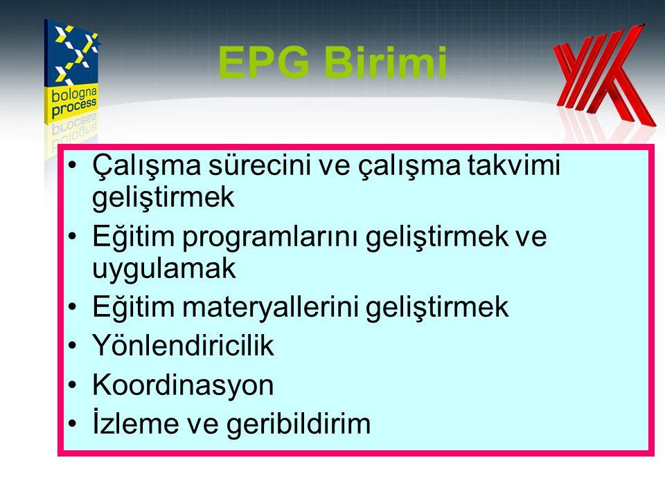 EPG Birimi Çalışma sürecini ve çalışma takvimi geliştirmek