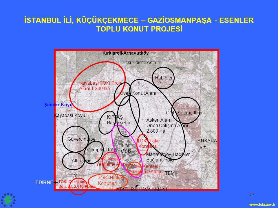 İSTANBUL İLİ, KÜÇÜKÇEKMECE – GAZİOSMANPAŞA - ESENLER TOPLU KONUT PROJESİ