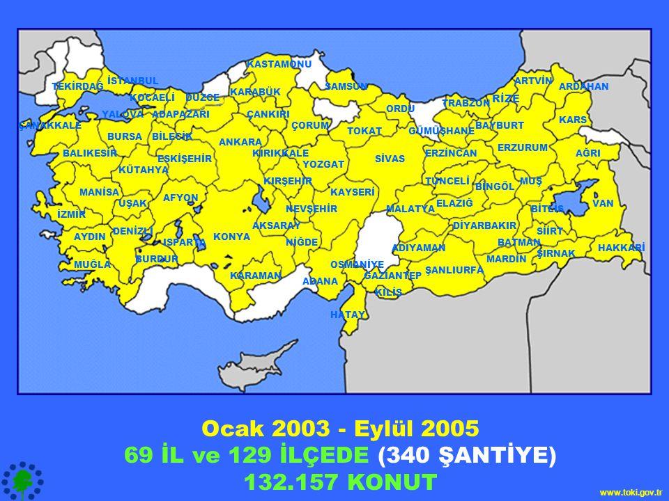 Ocak 2003 - Eylül 2005 69 İL ve 129 İLÇEDE (340 ŞANTİYE) 132.157 KONUT