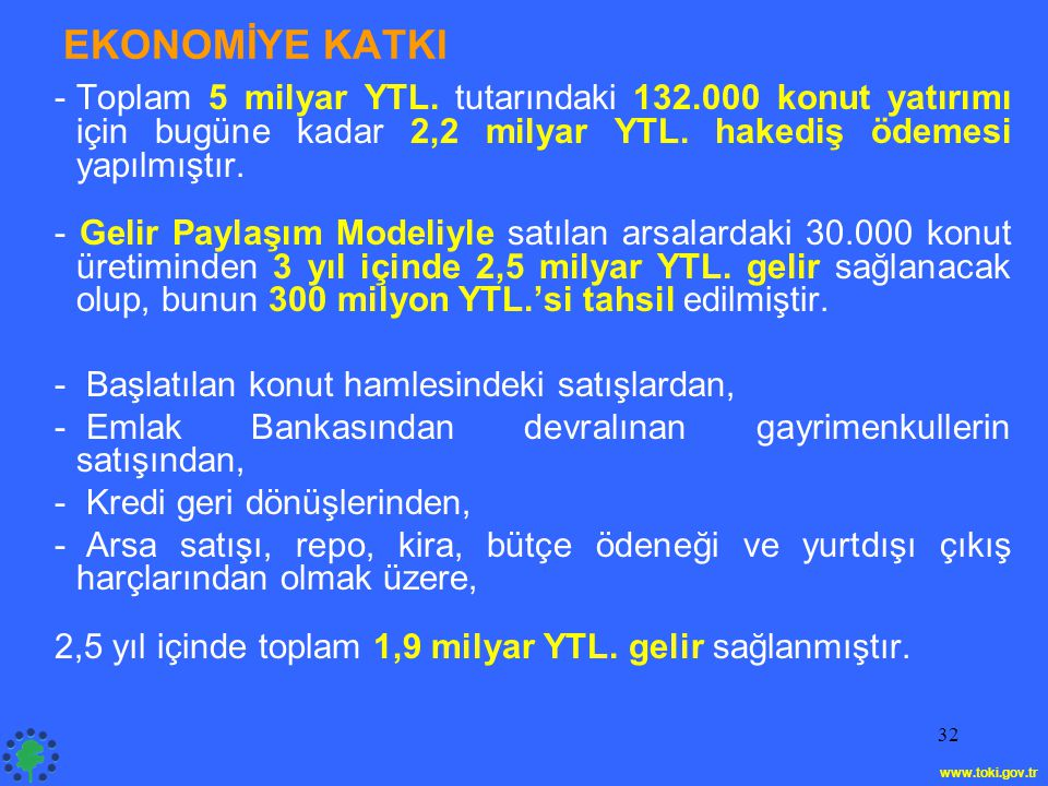 EKONOMİYE KATKI Toplam 5 milyar YTL. tutarındaki 132.000 konut yatırımı için bugüne kadar 2,2 milyar YTL. hakediş ödemesi yapılmıştır.