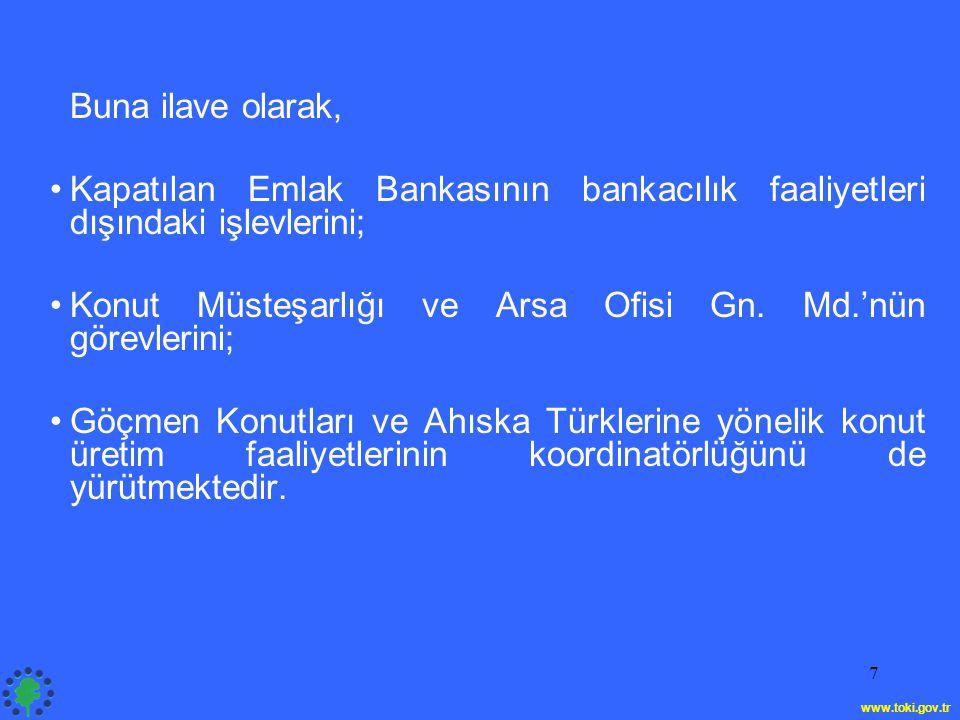 Konut Müsteşarlığı ve Arsa Ofisi Gn. Md.'nün görevlerini;