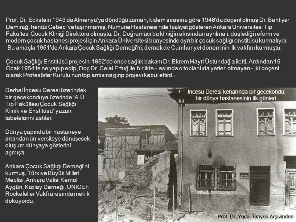 Prof. Dr. Eckstein 1949'da Almanya'ya döndüğü zaman, kıdem sırasına göre 1946'da doçent olmuş Dr. Bahtiyar Demirağ, henüz Cebeci'ye taşınmamış, Numune Hastanesi'nde faaliyet gösteren Ankara Üniversitesi Tıp Fakültesi Çocuk Kliniği Direktörü olmuştu. Dr. Doğramacı bu kliniğin akışından ayrılmalı, düşlediği reform ve modern çocuk hastanesi projesi için Ankara Üniversitesi bünyesinde ayrı bir çocuk sağlığı enstitüsü kurmalıydı.