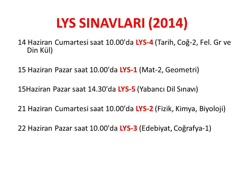 LYS SINAVLARI (2014) 14 Haziran Cumartesi saat 10.00 da LYS-4 (Tarih, Coğ-2, Fel. Gr ve Din Kül)