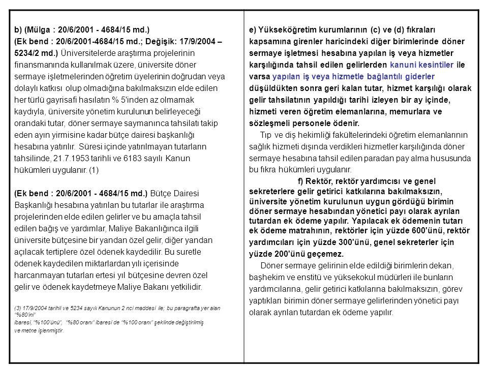 (Ek bend : 20/6/2001-4684/15 md.; Değişik: 17/9/2004 –