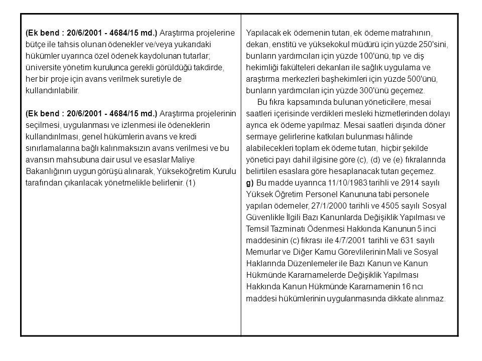 (Ek bend : 20/6/2001 - 4684/15 md.) Araştırma projelerine