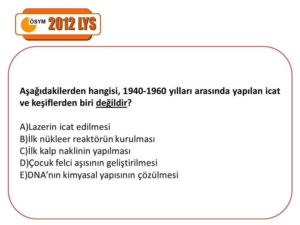 2012 LYS Aşağıdakilerden hangisi, 1940-1960 yılları arasında yapılan icat ve keşiflerden biri değildir